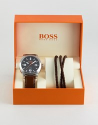 Boss Orange By Hugo Watch And Bracelet Gift Set In Brown