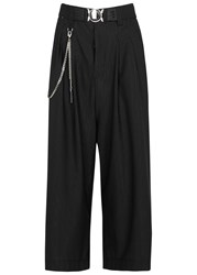 High Navagar Pinstriped Cropped Jersey Culottes Black