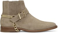 Balmain Beige Suede Eperon Boots