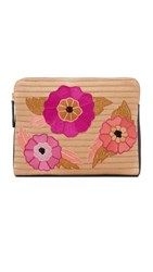Lizzie Fortunato Safari Clutch With Flower Power Teal Multi
