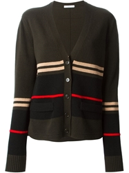 Givenchy Striped Cardigan Green