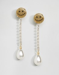 Asos Limited Edition Happy Strand Earrings Multi Gold