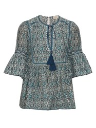 Talitha Block Print Cotton And Silk Blend Top Blue Multi