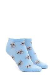 Forever 21 Cat Print Ankle Socks Light Blue Multi
