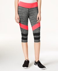 Material Girl Active Juniors' Game On Graphic Cropped Leggings Only At Macy's Flash Mode Black Spacedye