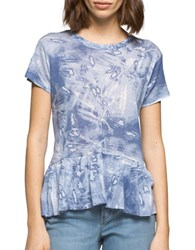 Ck Calvin Klein Printed Hi Lo Ruffled Top Blue