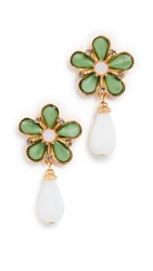 Ben Amun Floral Post Earrings With Drop Green