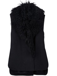 Thakoon Fur Trimmed Coat Black