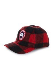 Canada Goose Plaid Wool Blend Hat Black Red