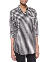 Lafayette 148 New York Jude Checkered Blouse With Pocket