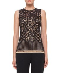 Akris Sleeveless Geometric Lace Top Black