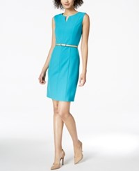 Ellen Tracy Petite Belted Sheath Dress Turquoise