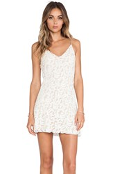 Loveshackfancy Baroque Lace Mini Slip Dress Cream