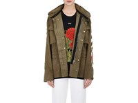 Off White Women's Stripes And Roses Embroidered Twill Field Jacket Dark Green