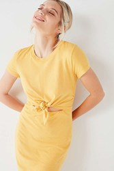 Urban Outfitters Uo Tie Front T Shirt Dress Yellow