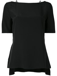 Thierry Mugler Short Sleeve Open Back Blouse Women Silk 38 Black