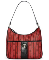 Giani Bernini Stripe Signature Hobo Only At Macy's Red Black