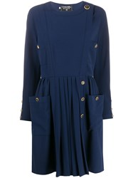 Chanel Pre Owned Side Buttoned Long Sleeved Dress 60