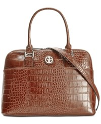 Giani Bernini Croc Embossed Dome Satchel Only At Macy's Brown