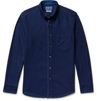 Blue Blue Japan Slim Fit Button Down Collar Indigo Dyed Cotton Twill Shirt Indigo