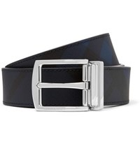 Burberry 3.5Cm Navy And Black Reversible Leather And Cross Grain Faux Leather Belt