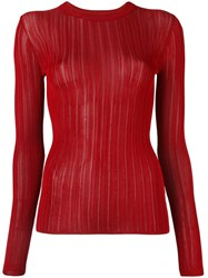 Dkny Sheer Stripe Jumper Red