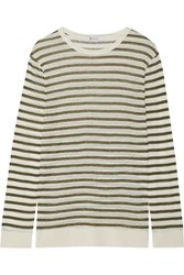 Alexander Wang T By Striped Jersey Top Army Green