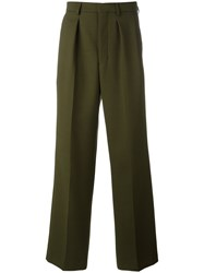 Ami Alexandre Mattiussi Box Pleated Wide Trousers Men Polyester Spandex Elastane Wool 36 Green