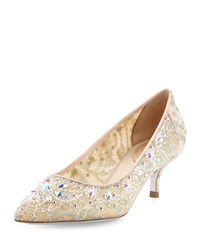 Rene Caovilla Crystal Embellished Lace Low Heel Pump Lilac Multi
