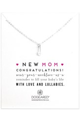 Women's Dogeared 'New Mom' Safety Pin Pendant Necklace Silver