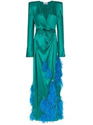 Attico Feather Embellished Star Jacquard Gown Green