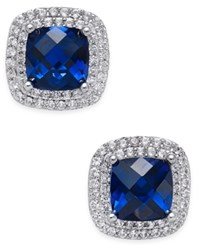 Macy's Lab Created Sapphire 2 1 6 Ct. T.W. And White Sapphire 1 3 Ct. T.W. Square Stud Earrings In Sterling Silver
