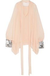 Chloe Sequin Embellished Silk Mousseline Blouse Blush