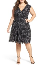London Times Plus Size Women's Dot Mesh Ruched Waist Dress