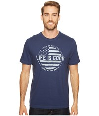 Life Is Good Land Of The Free Crusher Tee Darkest Blue Men's T Shirt