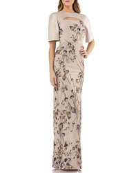 Kay Unger New York Cutout Mikado And Lace Gown W Sequin Embroidery Gold Multi