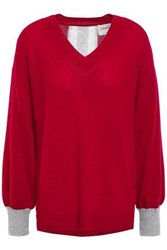 Charli Woman Calanthe Distressed Two Tone Cashmere Sweater Crimson
