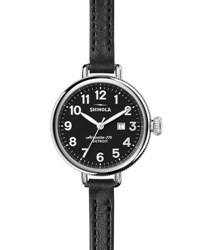 Shinola The Birdy 34Mm Leather Strap Watch Black