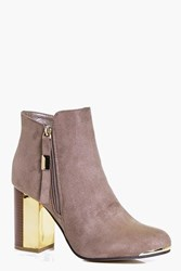 Boohoo Block Gold Heel Ankle Boot Taupe