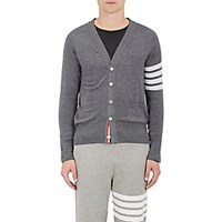 Thom Browne Men's Block Striped Wool Cardigan Dark Grey
