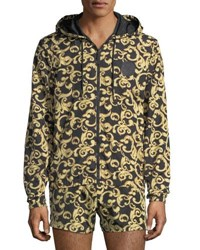 Versace Barocco Net Zip Front Jacket Black Gold