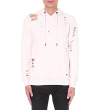Criminal Damage Shoreditch Distressed Cotton Jersey Hoody Pink