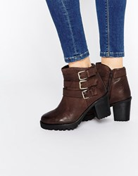 Ravel Buckle Strap Chunky Heeled Leather Ankle Boots Brown