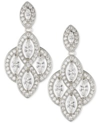 Anne Klein Marquise Crystal Drop Earrings Silver