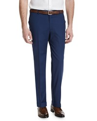 Isaia Gregory Flat Front Wool Blend Trousers Blue Men's