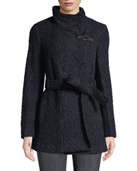 Cole Haan Novelty Boucle Wool Sweater Black Blue