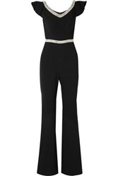 Rachel Zoe Reeda Off The Shoulder Embellished Crepe Jumpsuit Black