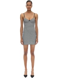 Alexander Wang Houndstooth Fitted Mini Dress Grey