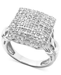 Macy's Diamond Square Cluster Ring In 14K White Gold 1 Ct. T.W.