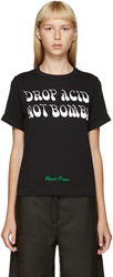 Off White Black 'Drop Acid Not Bombs' T Shirt